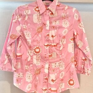 Vintage Oilily cotton blouse with dachshunds
